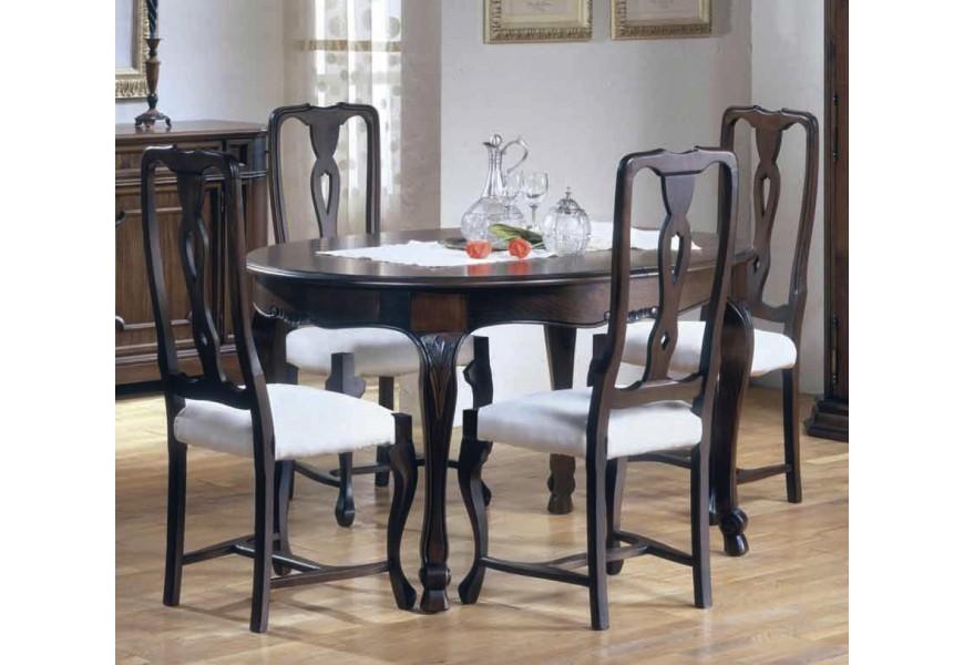 Luxusný jedálenský stôl Nuevas formas v rustikálnom štýle okrúhleho tvaru s vyrezávanými nožičkami