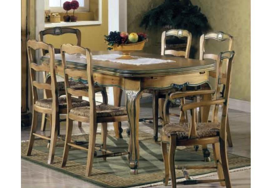 Luxusný rustikálny jedálenský stôl Nuevas formas s vyrezávanými nožičkami