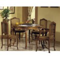 Exkluzívny rozkladací jedálenský stôl Nuevas formas kruhového tvaru v rustikálnom štýle s vyrezávanými ornamentami