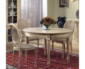 Luxusný rustikálny okrúhly jedálenský stôl Nuevas formas vyrezávaný rozkladací 178cm
