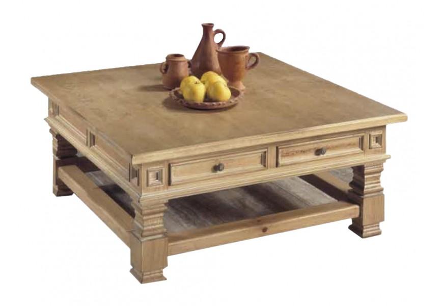 Obdĺžnikový koloniálny konferenčný stolík Nuevas formas z dreva so zásuvkami 120cm