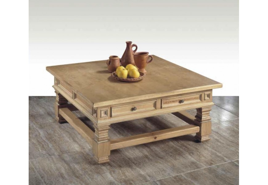 Rustikálny štvorcový konferenčný stolík Nuevas formas s vyrezávaním a zásuvkami