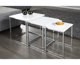 Moderný štýlový konferenčný stolík New Fusion sada 3ks biela