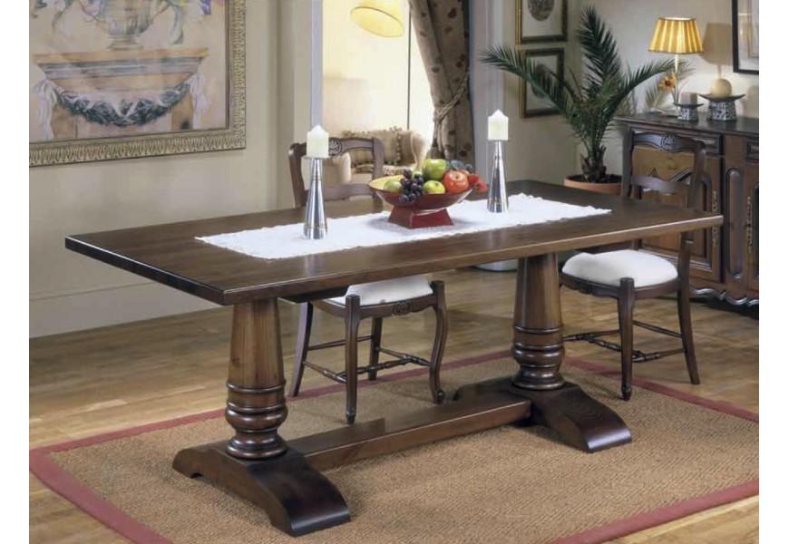 Klasický elegantný jedálenský stôl Nuevas formas v rustikálnom štýle z dreva