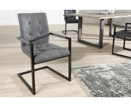 Dizajnová štýlová stolička Oxford s podrúčkami šedá