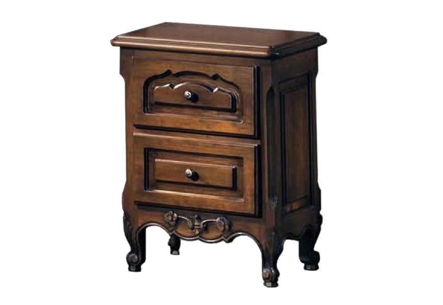 Luxusný nočný stolík Nuevas formas s vyrezávanými nožičkami a zásuvkami