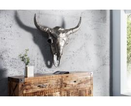 Štýlová dekoračná strieborná lebka Matador 95cm