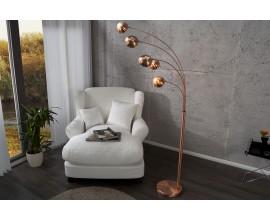 Dizajnová jedinečná stojaca lampa Five Lights medená