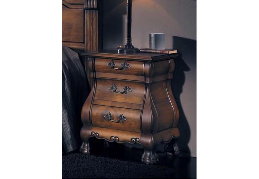 Vkusný drevený rustikálny nočný stolík Nuevas formas na nožičkách so zásuvkami