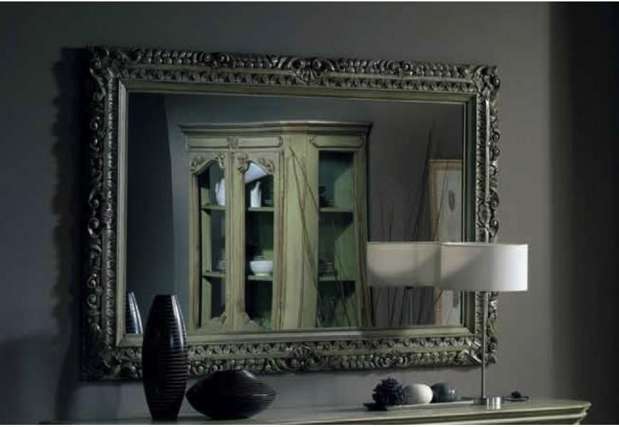 Luxusné rustikálne obdĺžnikové zrkadlo Nuevas formas v masívnom ráme s ornamentálnym vzorom