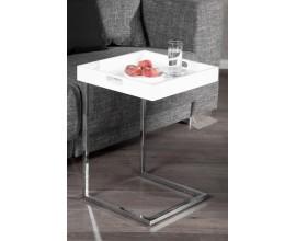 Dizajnový odkladací stolík Ciano biely chróm s podnosom