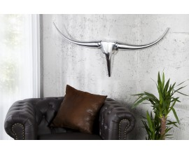 Extravagantná dekoračná lebka Bull 99cm strieborná