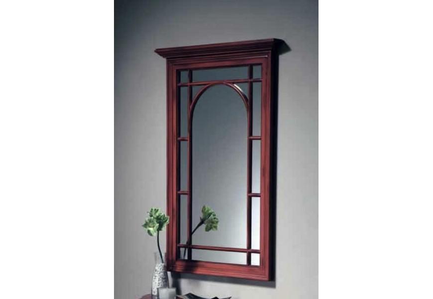 Nadčasové rustikálne nástenné zrkadlo Nuevas formas v ráme z masívneho dreva, ktorý pripomína okno