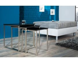 Štýlový moderný konferenčný stolík New Fusion set 3ks čierna