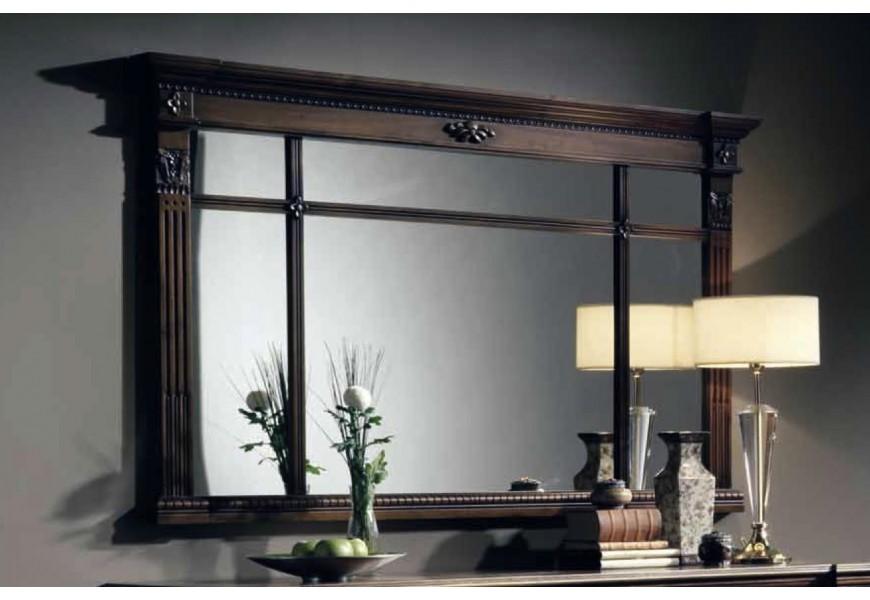 Luxusné rustikálne obdlžnikové zrkadlo Nuevas formas v hnedom ráme z masívneho dreva s možnosťou iného farebného prevedenia