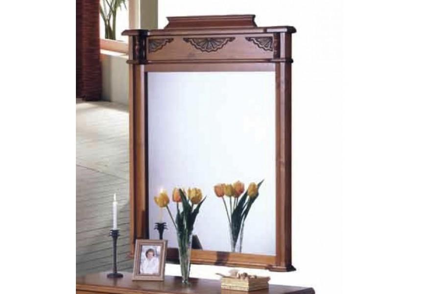 Luxusné masívne zrkadlo Nuevas formas obdĺžnikového tvaru s vkusným vzorom v hornej časti