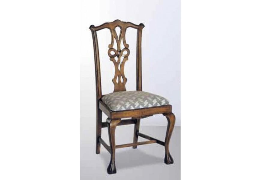 Luxusná jedálenská stolička Nuevas formas z masívneho dreva v rustikálnom štýle s čalúnením