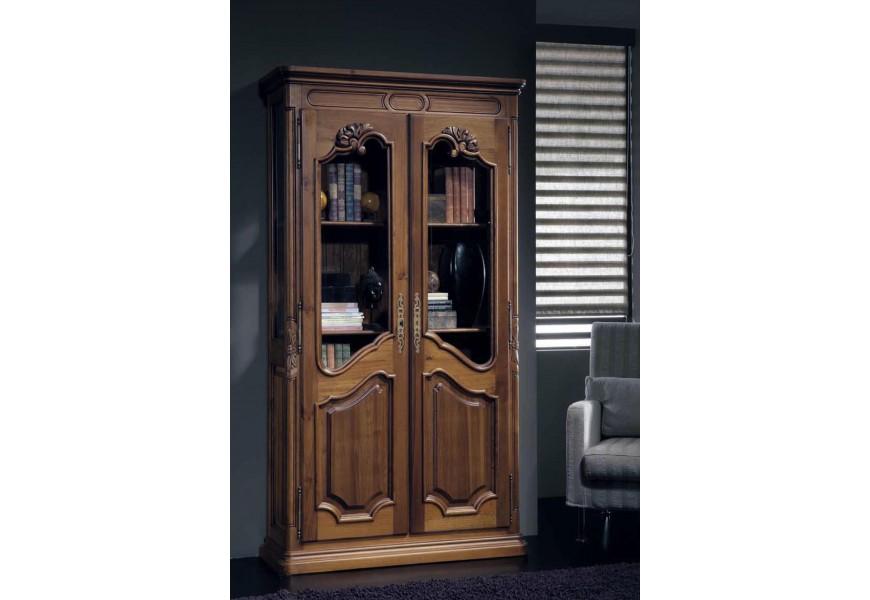 Luxusná rustikálna knižnica Nuevas formas s poličkami a sklenenými dvierkami