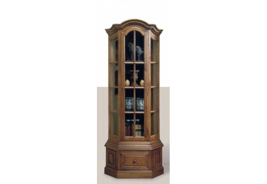 Elegantná rustikálna rohová vitrína Nuevas formas z dreva so sklenenými dvierkami
