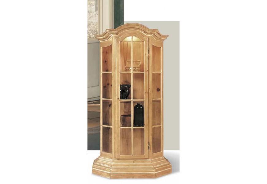Luxusná vitrína Nuevas formas z dreva so štyrmi poličkami a sklenenými dvierkami