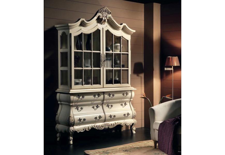 Luxusná zámocká vitrína Nuevas formas so zásuvkami a sklenenými dvierkami s vyrezávanými ornamentami