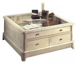 Klasický presklený konferečný stolík Arles štvorcového tvaru so zásuvkami 100cm