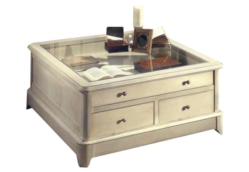 Luxusný štvorcový stolík Arles so zásuvkami a s presklenou povrchovou doskou
