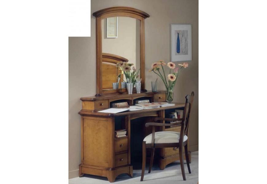 Elegantný drevený písací stôl z bukového masívu v koloniálnom štýle s poličkami a zásuvkami