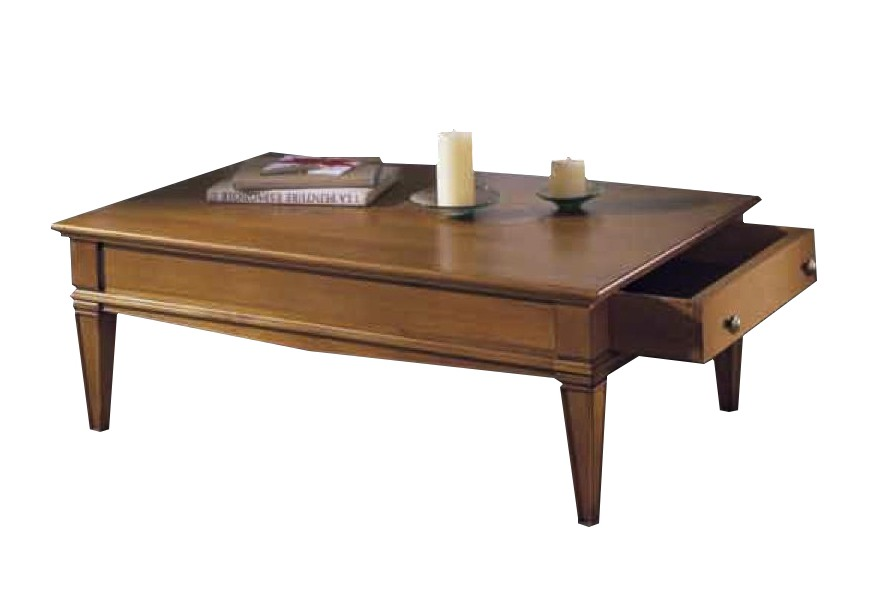Rustikálny drevený konferenčný stolík Frontes s vyrezávanými prvkami a zásuvkou