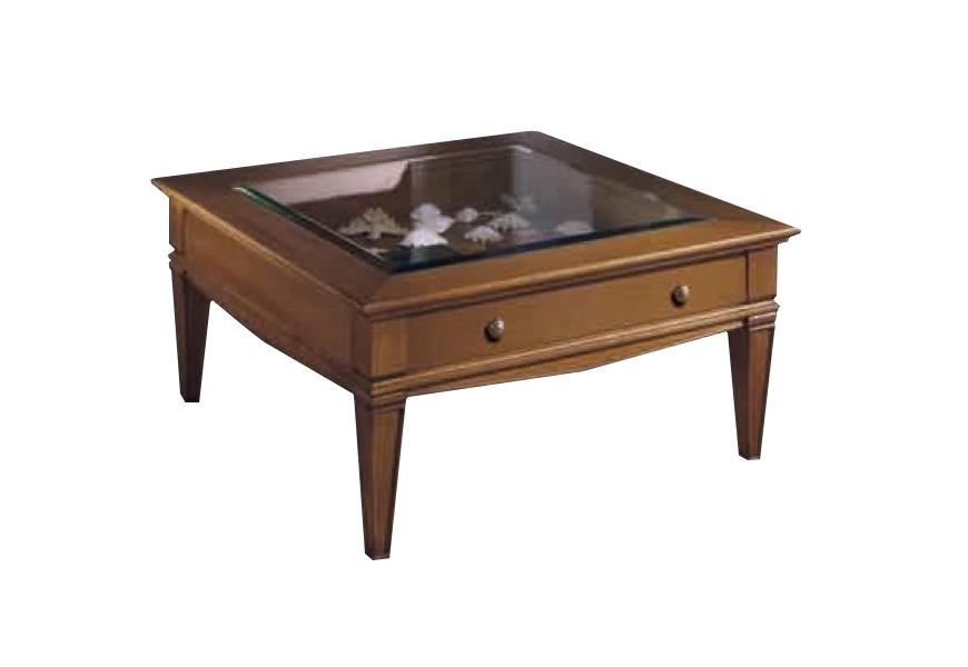 Elegantný rustikálny konferenčný stolík Frontes štvorcového tvaru so zásuvkou