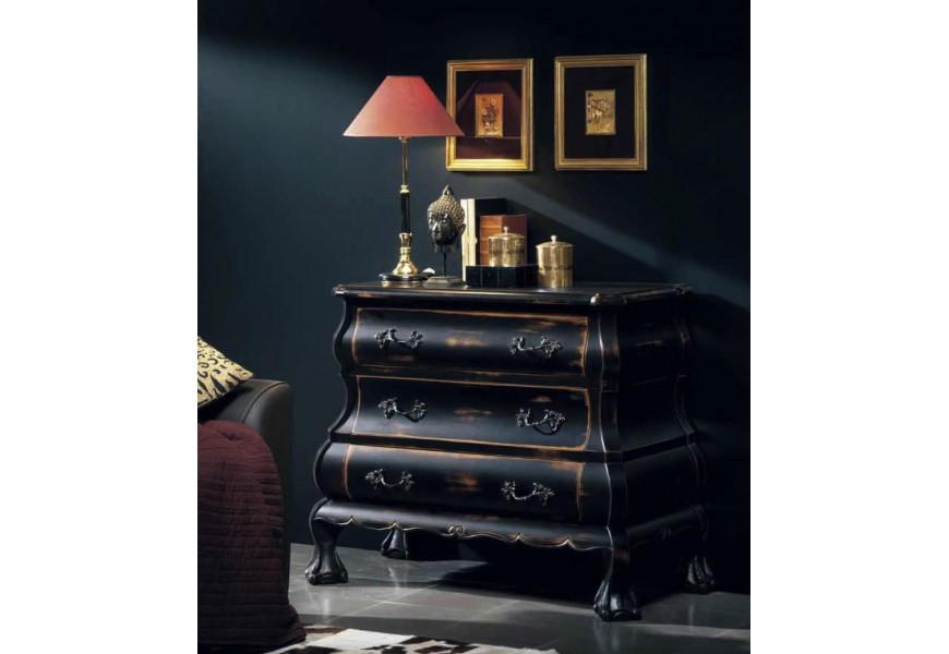 Exkluzívna komoda Luis Philippe v rustikálnom štýle s tromi zásuvkami a ornamentálnym zdobením