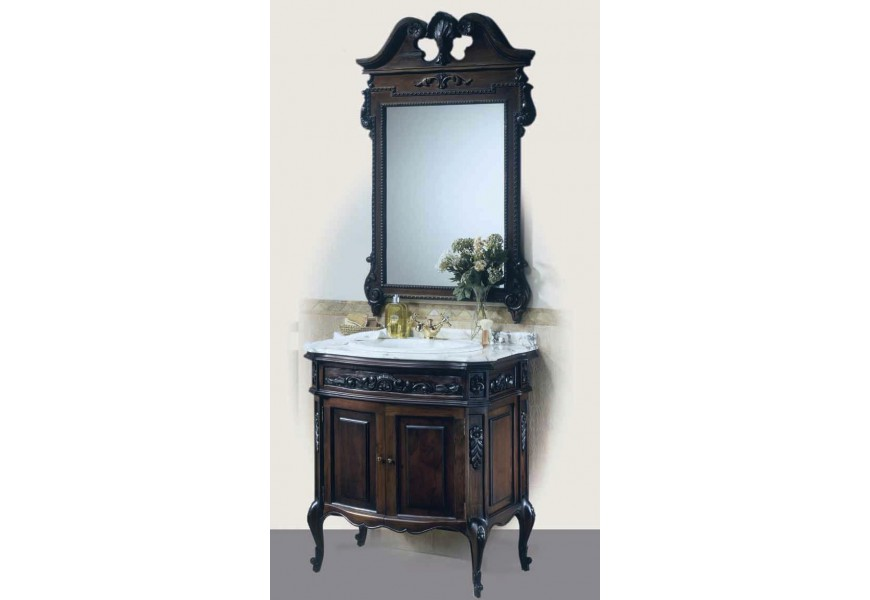Luxusná drevená skrinka pod umývadlo Luis Philippe s dvierkami v rustikálnom štýle s chippendale nožičkami