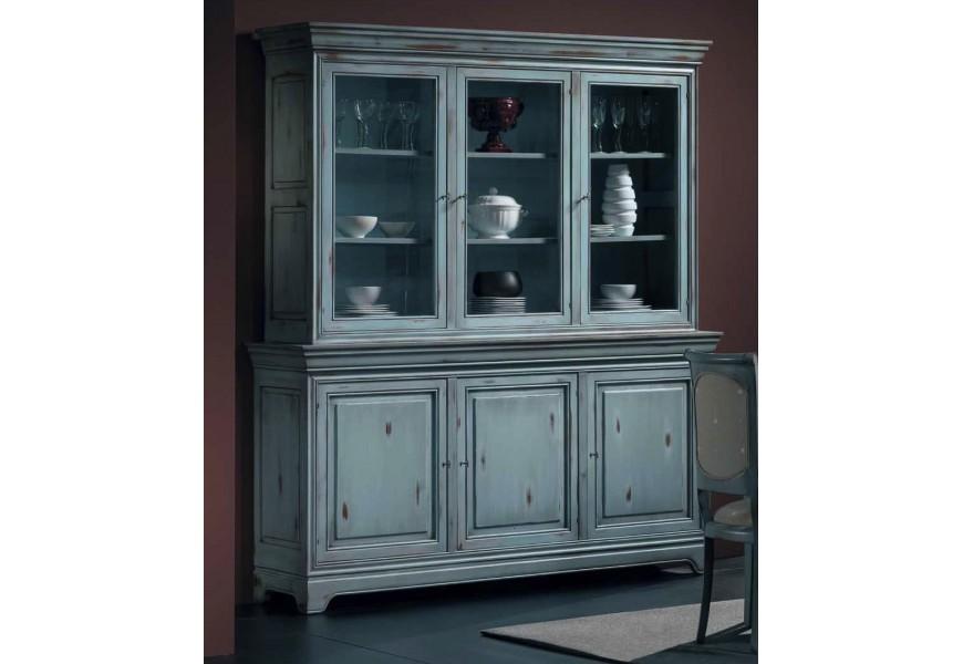 Štýlová retro vitrína Luis Philippe s úložným priestorom s drevenými a sklenenými dvierkami
