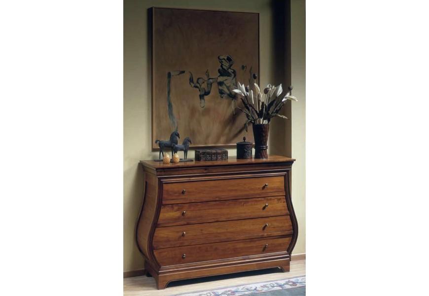 Elegantná drevená komoda Luis Philippe s elegantnými organickými líniami a štyrmi zásuvkami