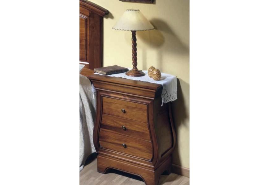 Luxusný drevený nočný stolík Luis Philippe v rustikálnom štýle s tromi zásuvkami