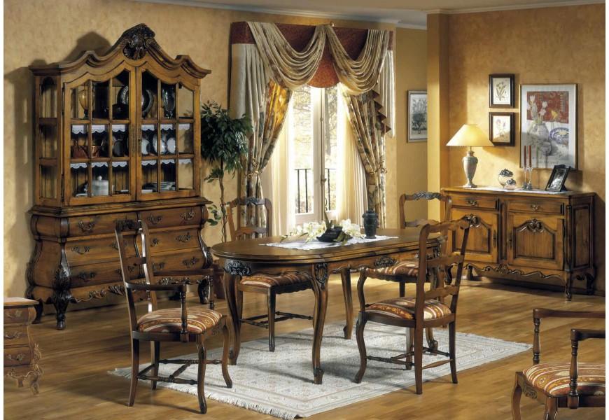Luxusná rustikálna jedálenská zostava Selleccion 3 z dreva s ornamentálnymi vyrezávanými prvkami