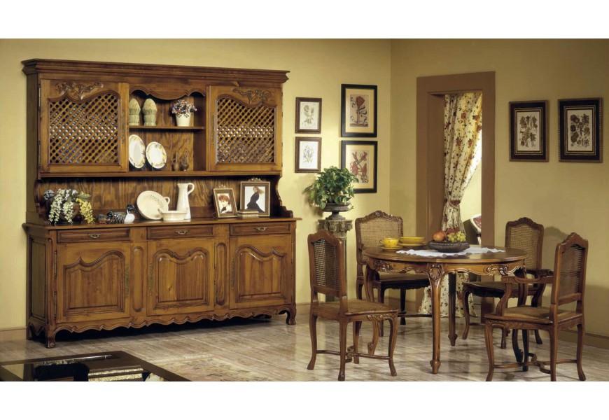 Luxusná drevená jedálenská zostava Selleccion 4 v koloniálnom štýle s ručne vyrezávanými prvkami