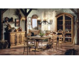 Rustikálna luxusná jedálenská zostava Selleccion 6 z dreva s ornamentálnymi prvkami