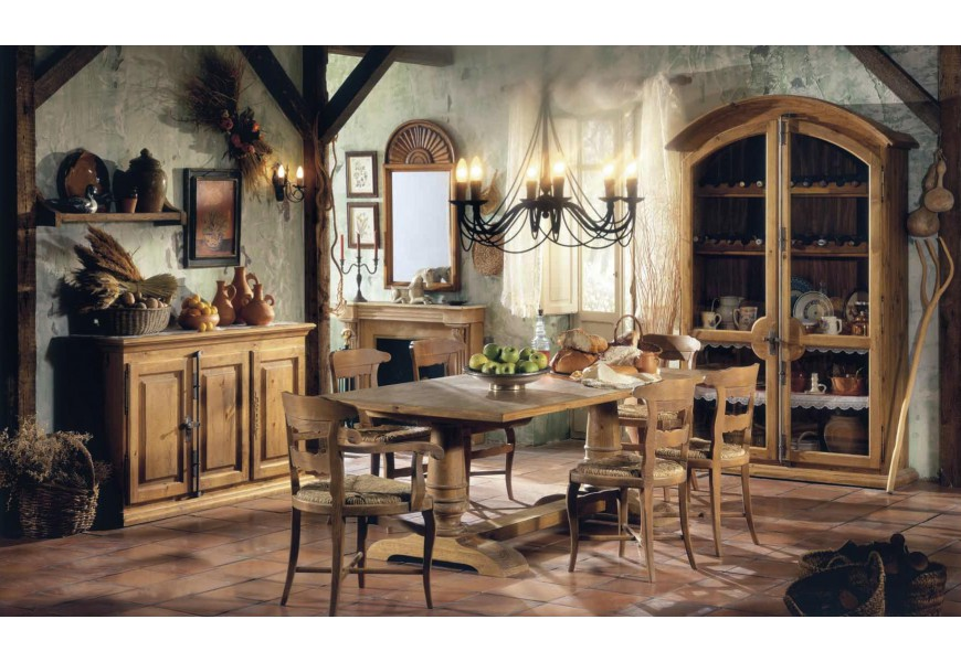 Luxusná rustikálna jedálenská zostava Selleccion 6 z dreva