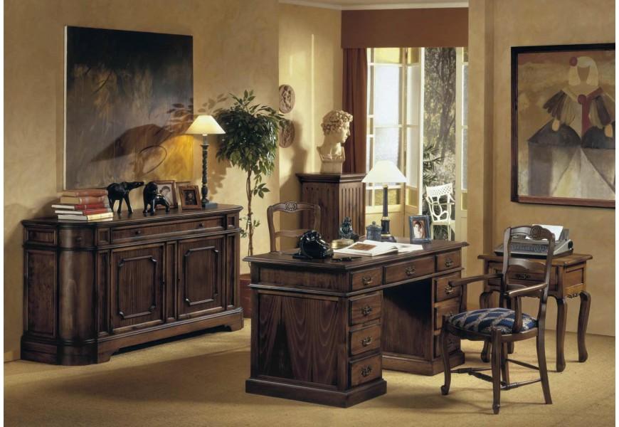 Luxusná zostava do pracovne Selleccion2 v rustikálnom štýle s ručne vyrezávanými prvkami