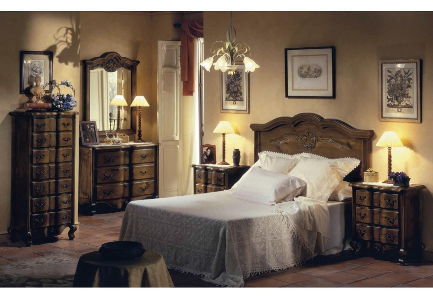 Luxusná spálňová zostava Selleccion 2 v rustikálnom štýle s ornamentálnym vyrezávaním