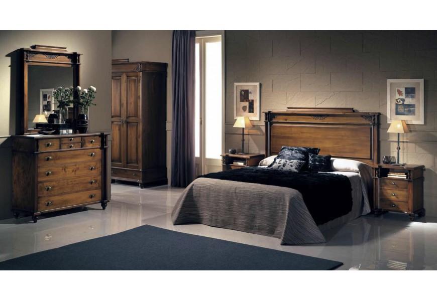 Luxusná zostava do spálne Selleccion 8 z dreva s rustikálnymi vyrezávanými ornamentami