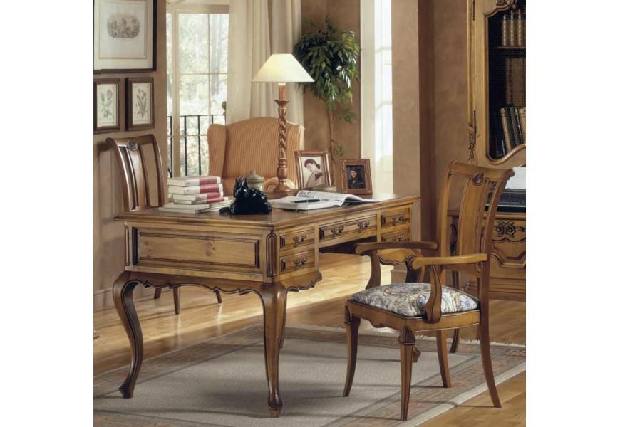 Luxusný rustikálny písací stôl Nuevas formas so zásuvkami a ornamentálnym vyrezávaním