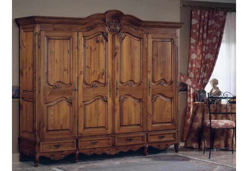 Luxusná starožitná skriňa Nuevas formas s dvierkami a zásuvkami s vyrezávaním