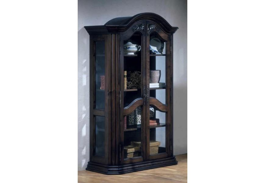 Exkluzívna vyrezávaná vitrína Nuevas formas z dreva so sklenenými dvierkami