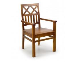 Dizajnová drevená stolička Star v hnedej farbe s opierkami na ruky 98cm