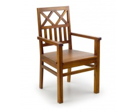 Masívna drevená stolička Star v hnedej farbe s opierkami na ruky 98cm