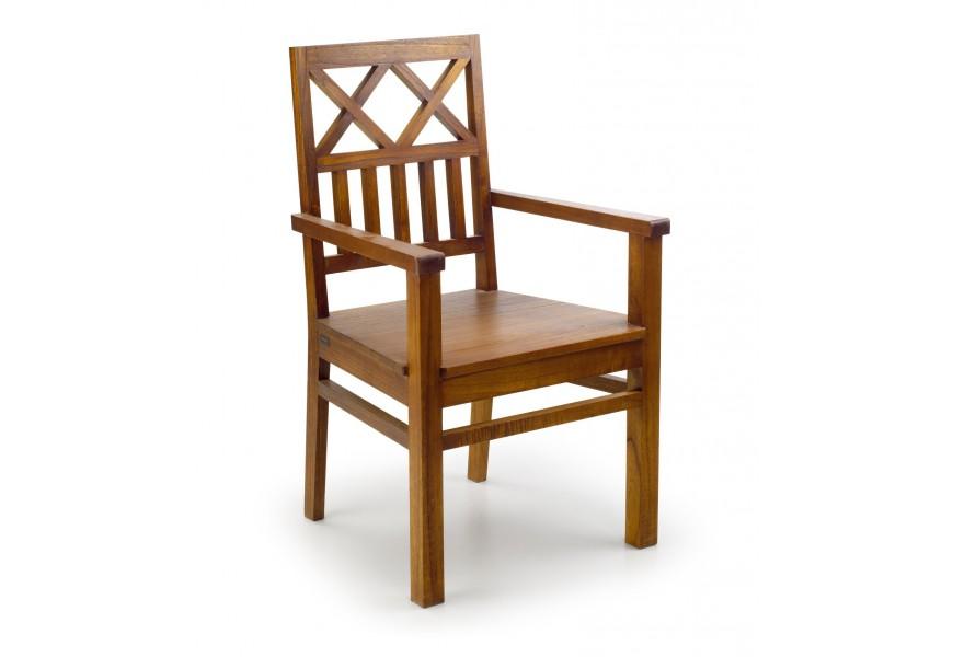 Elegantná drevená jedálenská stolička Star z masívu mindi hnedej farby