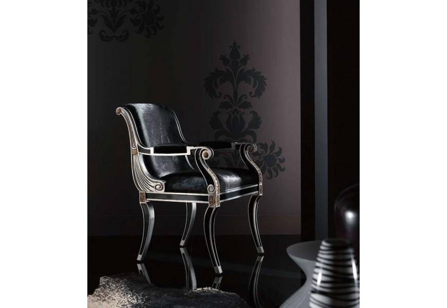 Luxusná masívna stolička s lakťovými opierkami Argento