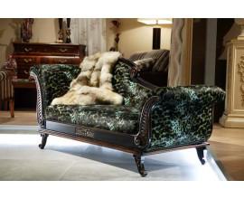 Luxusná leňoška čierna patinovaná v zelenej koži Argento